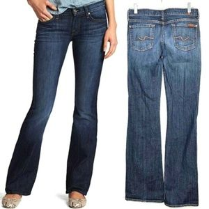 7 for All Mankind Flare Blue Jeans Med Wash 27